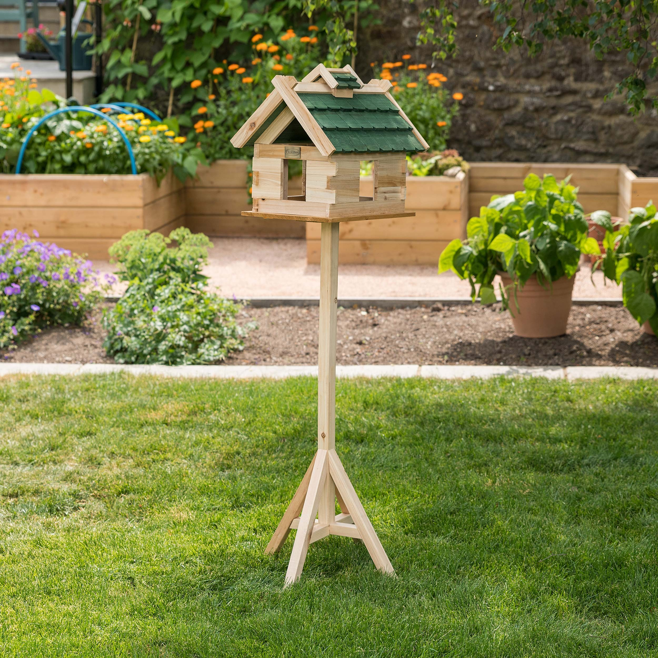 Image of Christow Traditional Wooden Bird Table With Roof