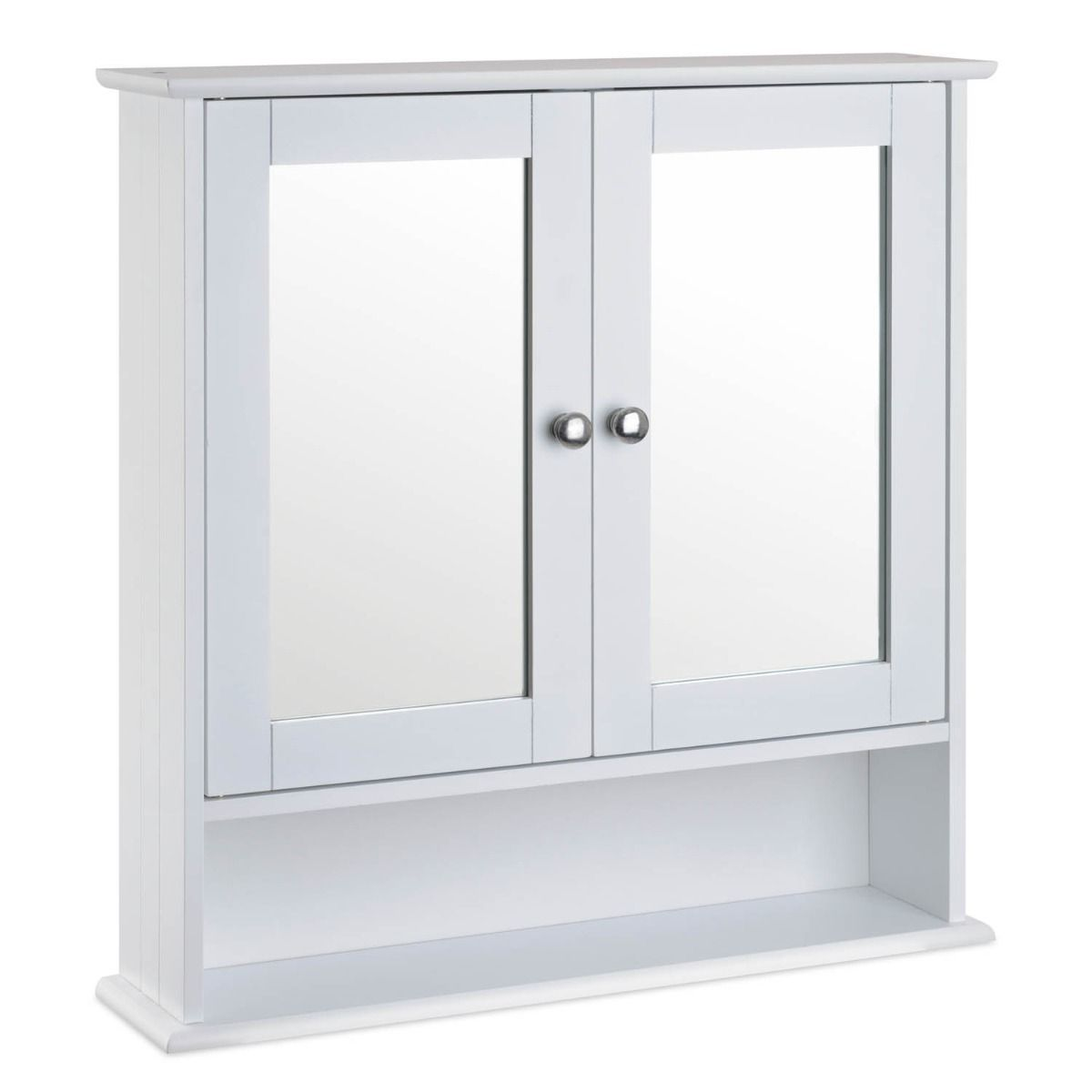 White Mirrored Bathroom Wall Cabinet Christow