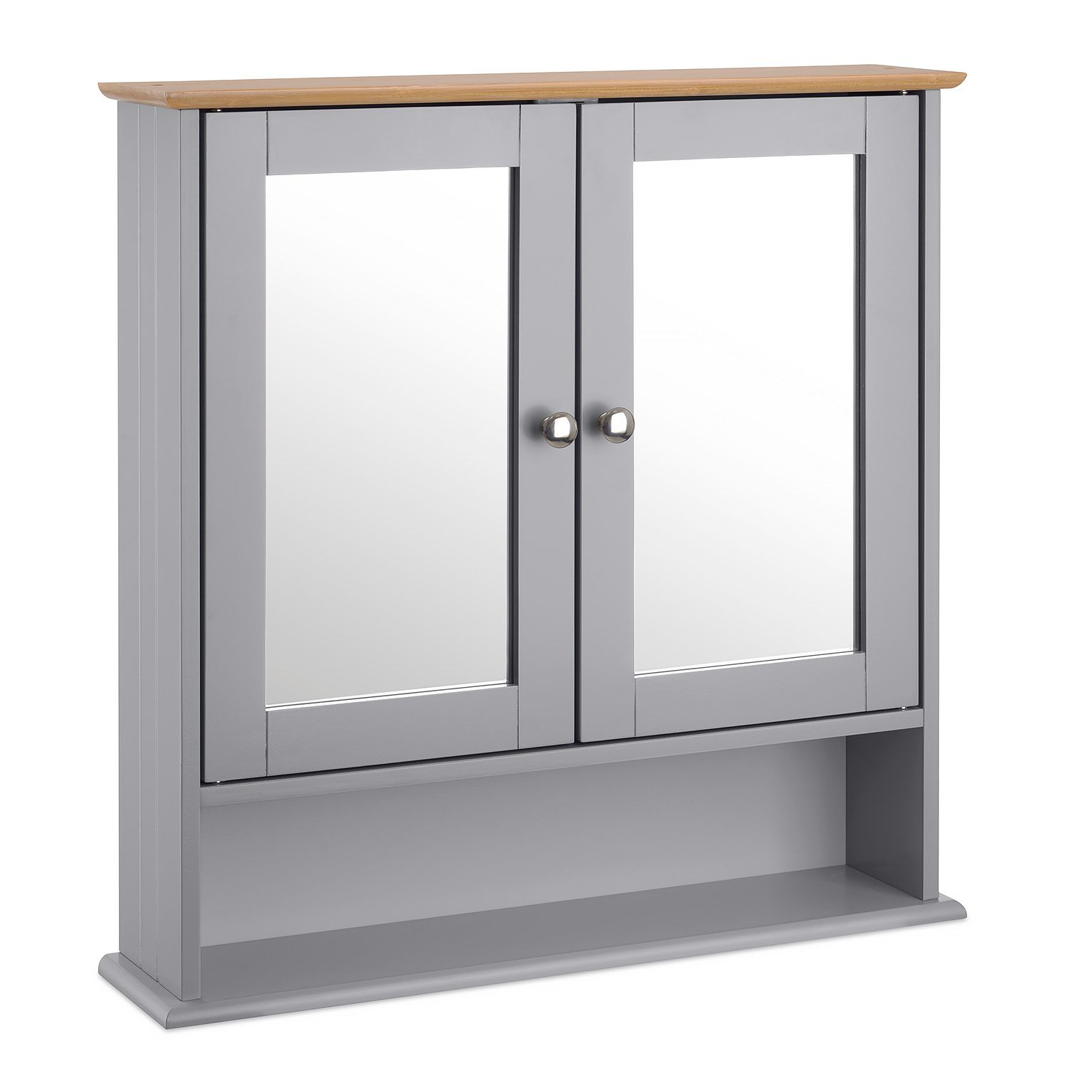 Grey Bamboo Mirrored Bathroom Wall Cabinet Christow